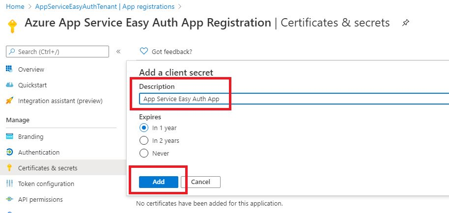 App registration for App Service Easy Auth Step 11